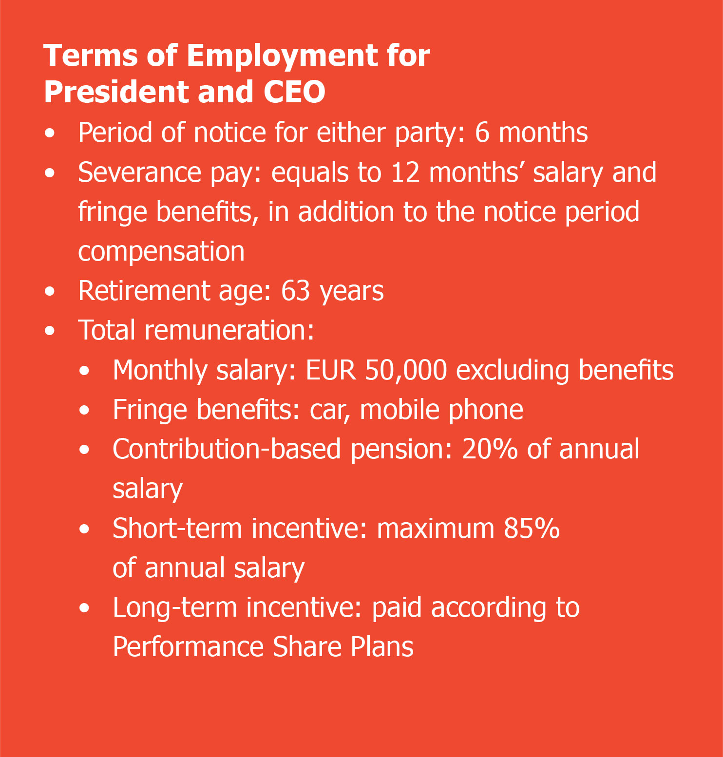 Terms of Employment for President and CEO