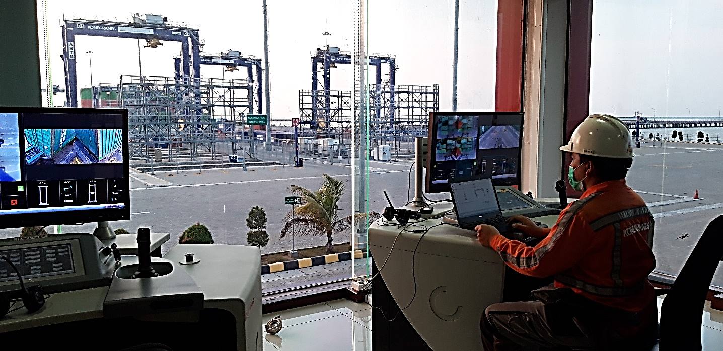 Calibrating one of the remote operating desks at KTMT, Indonesia