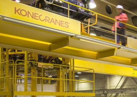 Konecranes technician walks on crane