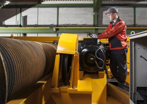 Konecranes technician works on crane modernization