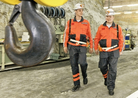 Konecranes technicians in a mine