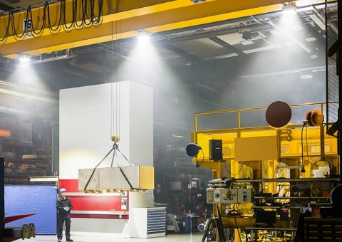 LED light retrofit on overhead crane