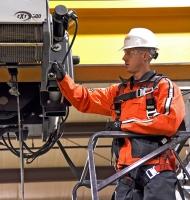 Konecranes technician inspects CXT hoist